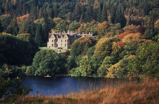 Glengarry Castle Hotel from across Loch Oich