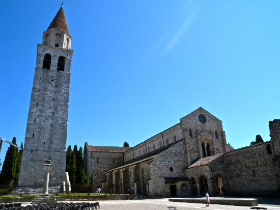 Aquileia, Italy: Exterior of the Basilica and Bell Tower