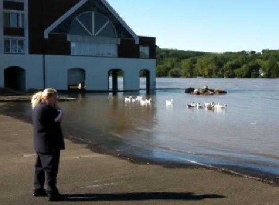 Lambertville, Nueva Jersey: Hurricane Irene and local pregnant woman on watch