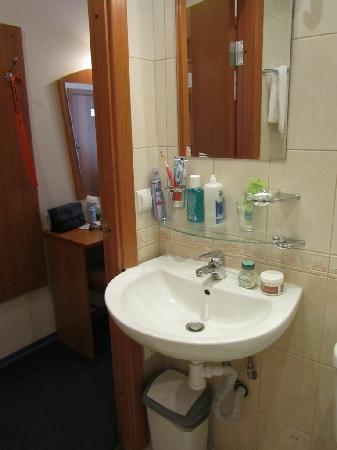 Nevskiy Central Hotel: Enough place to put your stuff in the bathroom