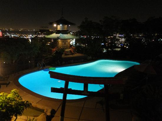 Hollywood Hills Hotel: Beautiful view of pool from front door of room 504