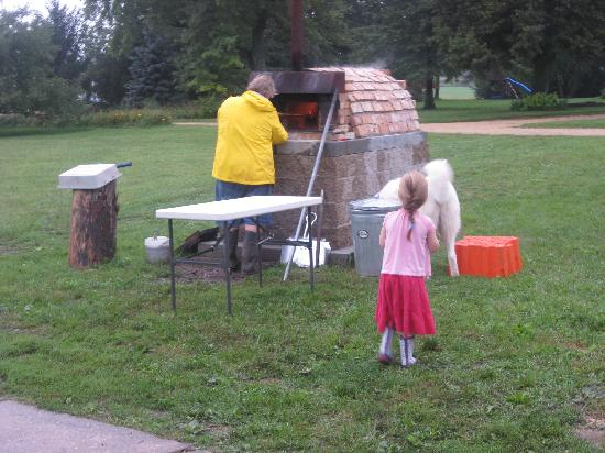 Caledonia, IL: Pizza in the wood-fire oven