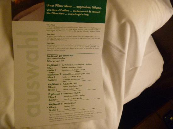 "Holiday Inn Munich-Schwabing: The pillow ""menu"" :P"
