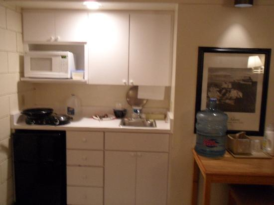 Rush Lake Motel: small kitchen with microwave and fridge