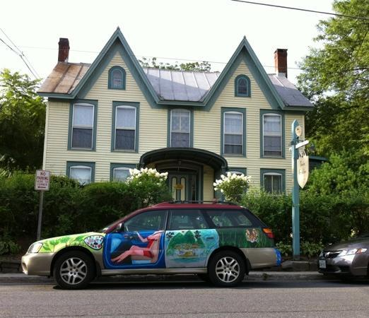 Twin Gables of Woodstock: The car doesn't go with the house, but it fits somehow.