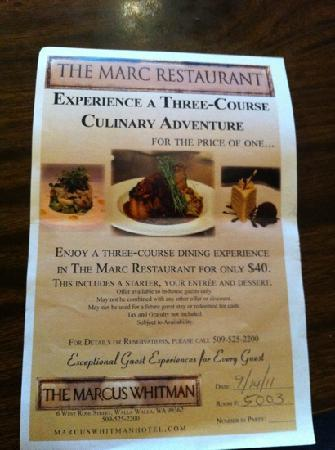 Marcus Whitman Hotel & Conference Center: flyer
