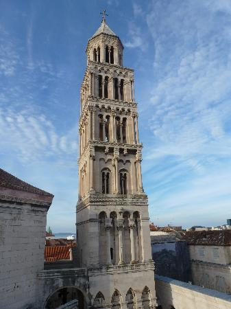 Diocletian's Rooms: Looking at the belltower from the room