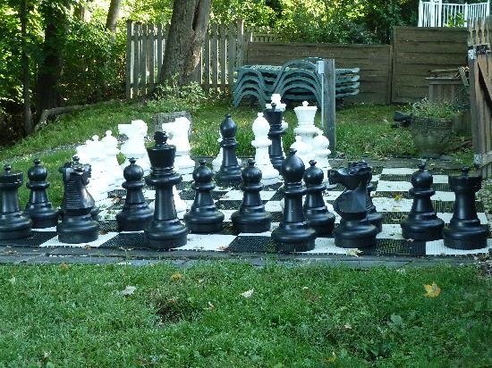 Alexander Hamilton House: Lawn Chess behind Pool