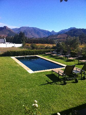La Cabriere Country House: the pool area, off our rooms