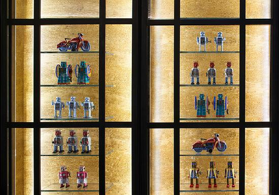 Smyth Hotel - A Thompson Hotel: Smyth Tribeca's collection of vintage robots on display in the hotel lobby