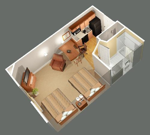 Candlewood Suites Sheridan: 2 Bed Suite layout