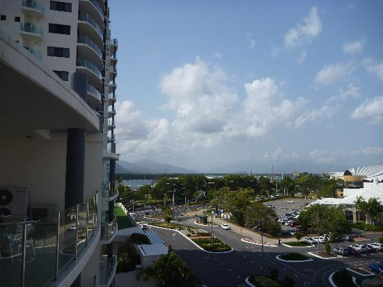 : The view from the 6th floor apartment down towards the water and the loading wharfs