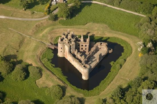 Dumfries and Galloway, UK: Caerlaverock Castle - aerial view