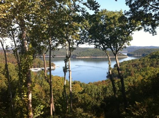 Lake Shore Cabins on Beaver Lake: view of the lake from the back deck of the cabin