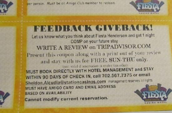 Fiesta Henderson Casino Hotel: Feedback voucher offering free night for Tripadvisor report