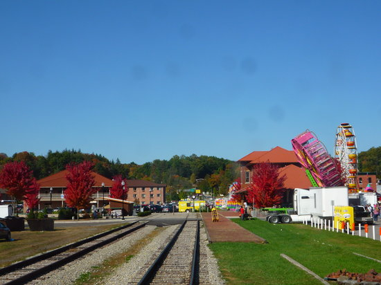 Elkins train depot in the Fall, taken from inside the train pulling in.