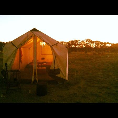 Marfa, TX: our tent at dusk