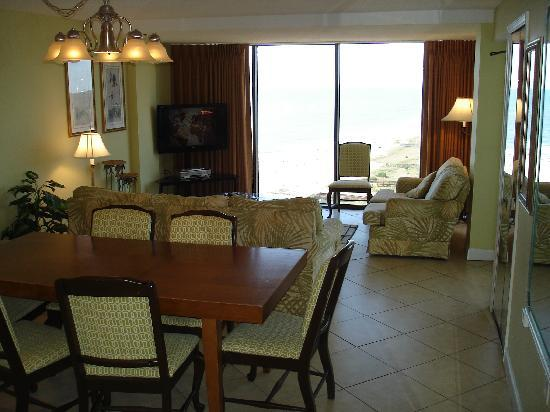 Sample Ocean View One Bedroom Condo Living Room Picture 2 Forest Dunes Res