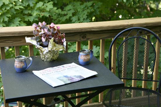 5 Corners Bed & Breakfast: Our back balacony is a great place to unwind after a long day of sightseeing or bike riding.