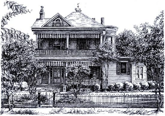 Ink drawing of Devereaux Shields House