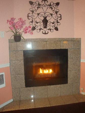 Del Monte Pines: fireplace was a nice touch to the room