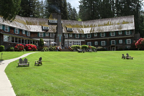 Lake Quinault Lodge: From the edge of the lake looking at the backside of the lodge