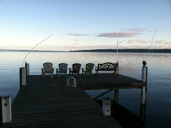 Silver Strand at Sheldrake: early morning view of Cayuga Lake from Silver Strand