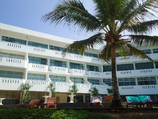 View of induruwa hotel from beach in front of the hotel