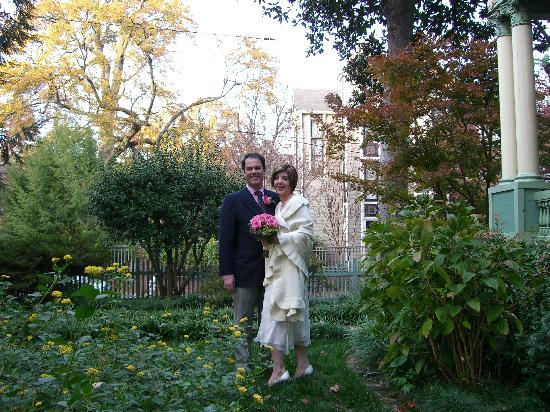 My husband and I on our wedding day at the Shellmont Inn