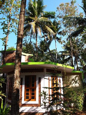 Our private cottage at Jicky's Rooms in Varkala, Kerala, in South India