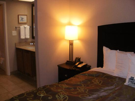 Homewood Suites Alexandria: Large bedroom with TV and most comfy bed ever!