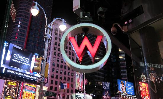 W New York - Times Square: Hotel sign on the corner of Times Square