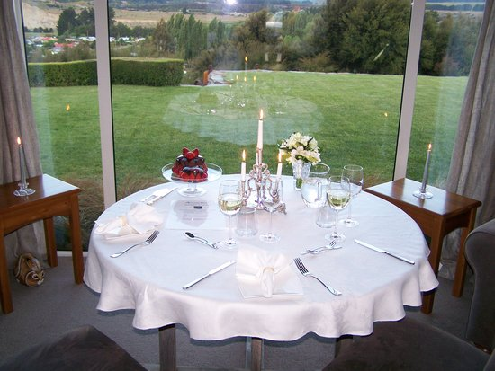 Riverview Terrace: The table set for our romantic dinner after the wedding.