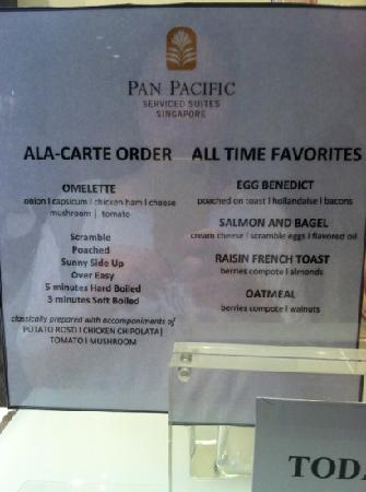 Pan Pacific Serviced Suites Orchard Singapore: breakfast menu