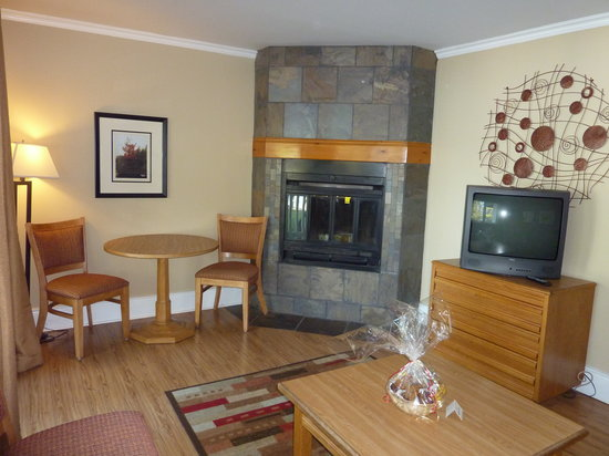 Bayview Wildwood Resort: living room with fireplace (1 log provided)