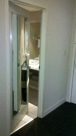 The Westin Edmonton: Bathroom door, and mirrors