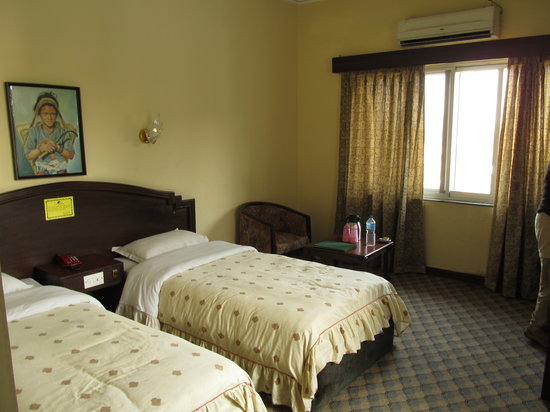 Bharatpur, Непал: Well-lit bedroom w/ air conditioning unit