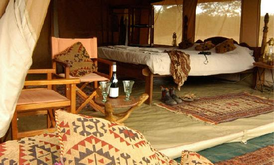 the luxury east african styled tents in the camp provide