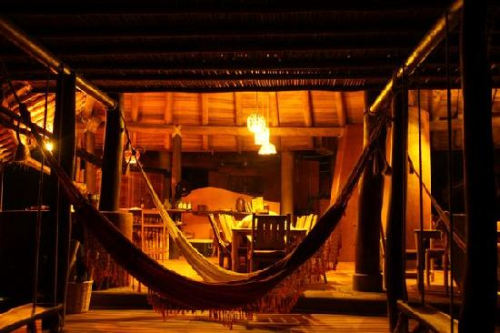 Playa Viva: Hammocks and Dining area at night