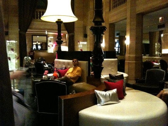 "W Chicago - City Center: The ""living room,"" a.k.a. lobby. It smelled good and had great furniture."