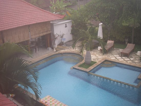 Villa Jaya: View from 2nd floor room to pool and dining (left) areas