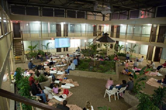 Skyline Inn: Enjoy free family friendly movies each night in the courtyard