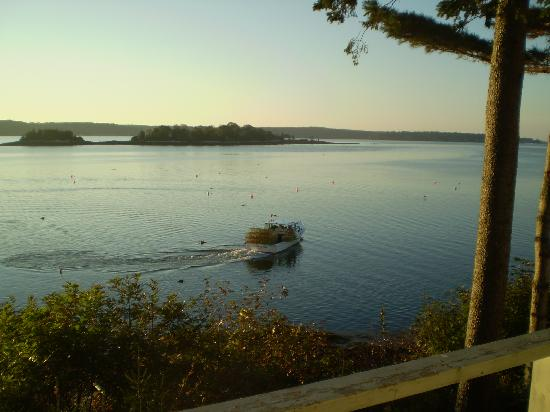 Linekin Bay Resort: View of lobster boat from my deck