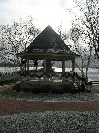 Gray House: The Gazebo by the lake during a snow shower