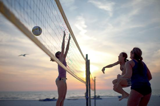Action-packed Clearwater Beach has volleyball nets, playground, slide, and more.