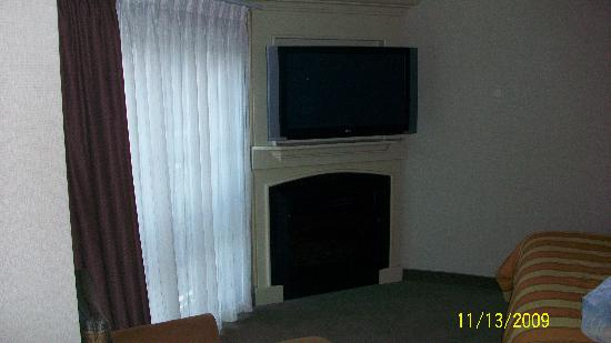 Silver Cloud Inn - University: Tv and fireplace