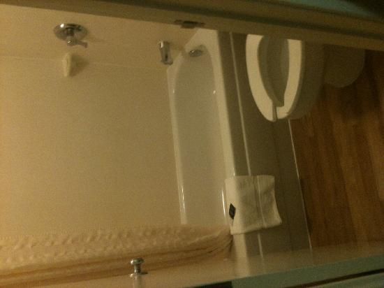 Red Roof Inn Johnson City: tiny but clean and functional bathroom