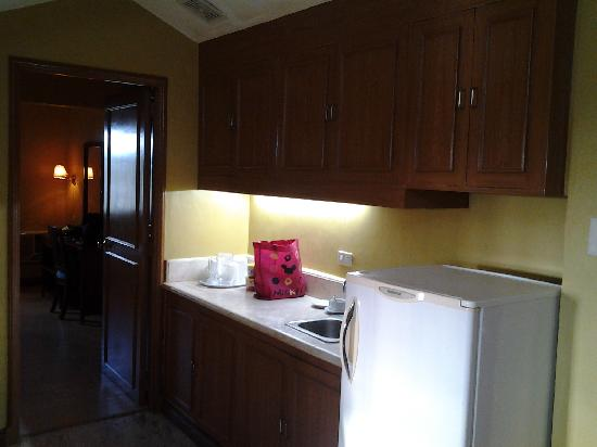 Sunrise Holiday Mansions Hotel: Empty kitchen and refrigerator!