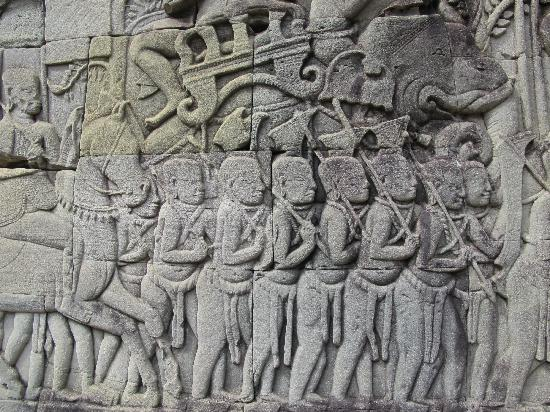 Carvings on the wall picture of angkor wat siem reap