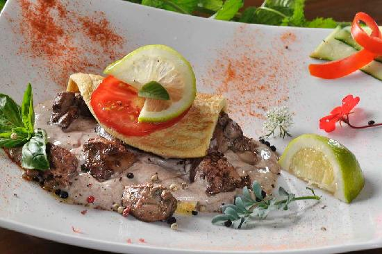 Franschhoek, Republika Południowej Afryki: Chicken livers in a pepper cream sauce